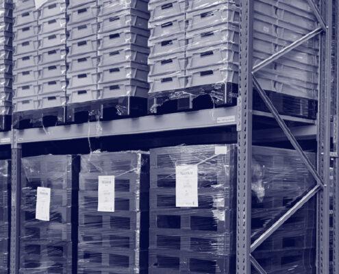 Lager og opbevaring af nyvaskede plastpaller Nordic Palletwash